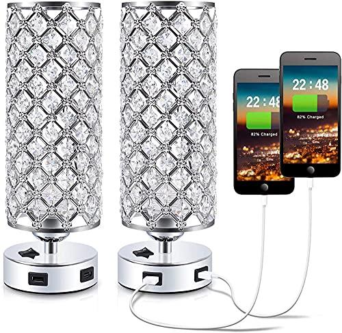 Lámpara moderna de escritorio de cristal con doble puerto de carga USB, lámpara de noche de cristal, muy adecuada para dormitorio y sala de estar [2 piezas]