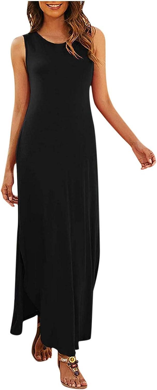 Maxi Dress for Women,Women Sleeveless Loose Maxi Dresses Casual Summer V-Neck Boho Vintage Long Dresses Beach Sundress