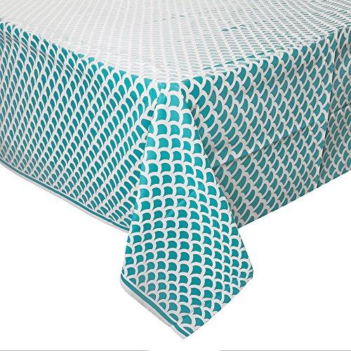 Mantel de Plástico con Diseño de Concha - 2,74 m x 1,37 m - Azul Cerceta