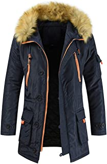 Yczx Men's Parka Winter Warm Fleece Overcoat with Faux Fur Hood Mens Quilted Padded Hooded Jacket Thicken Outwear Modern F...