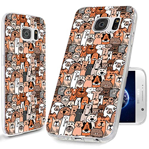 ChiChiC S7 Case,Galaxy S7 Case,Full Body Protective Anti Scratch Slim Flexible Soft TPU Gel Rubber Clear Cases Cover with Design for Samsung Galaxy S7,Cartoon Animal Pet Cute Dog Puppy and Cat Smile