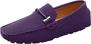 Jamron Mens Elegant Buckle Loafers Comfort Suede Driving Shoes Stylish Moccasin Slippers