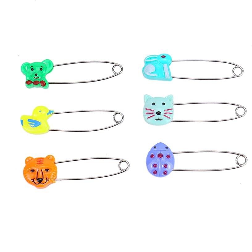 Monrocco 30pcs Cute Animal Plastic Head Baby Safety Pins Secure Clips for Fastening Baby Clothes Diaper Napkins Safety Hold Clip Locking Bib Nappy Pins