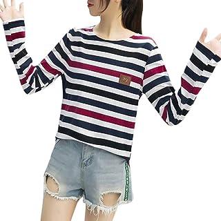 HAPFLY ァッション、新しい、韓国 ストライプボトム Tシャツ 女性のサイズ 長袖シャツ 正規品 速乾 おもしろ 通学路 ブラウス レディース