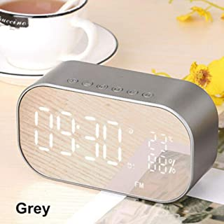 SevenAndEight LED Display Wireless Bluetooth Speaker,Digital Alarm Clock Subwoofer Stereo Loud (Grey)