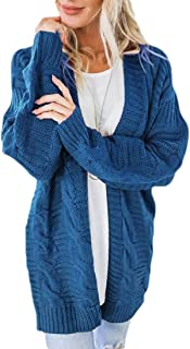 Macondoo Women's Warm Sweater Coat Knit Open Front Cable Cardigans