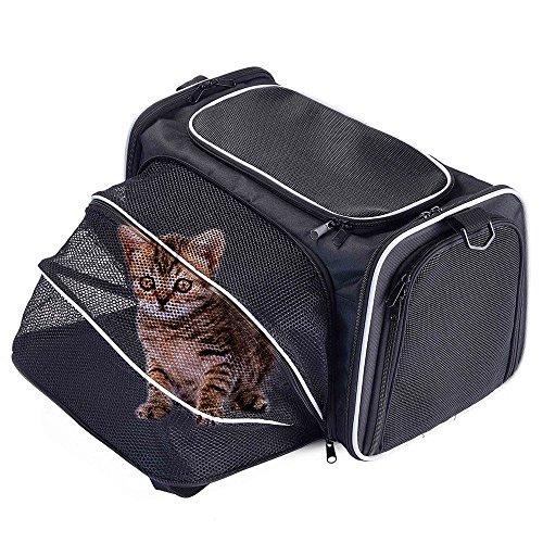 Bolso transportín expandible y plegable con laterales suaves para perros, gatos y otros animales