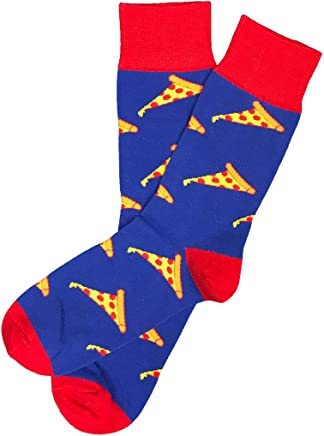 6bdac1a6370df Sock 101 Fun Crew Blue, Yellow and Red Pizza Sock - The Slice of Heaven