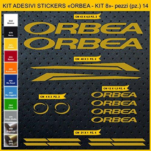 Adesivi Bici ORBEA - Kit 8- Kit Adesivi Stickers 14 Pezzi -Scegli SUBITO Colore- Bike Cycle pegatina cod.0937 (091 Oro)