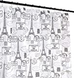 Macy Grey White Canvas Fabric Shower Curtain: Vintage Postal Paris Theme with Hooks