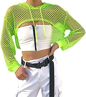 Women Casual Sexy 80s Costumes Concert Fishnet Neon Crop Hoodies T-Shirt