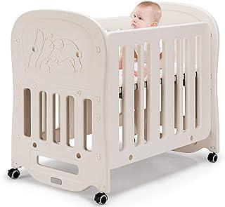 COSTWAY 3 in 1 Babybett & Babywiege & Laufstall mit Schaukelfunktion, Reisebett auf den Rollen, Stubenwagen mit Matratze,beistellbett bis 25kg belastbar, Kinderbett beige