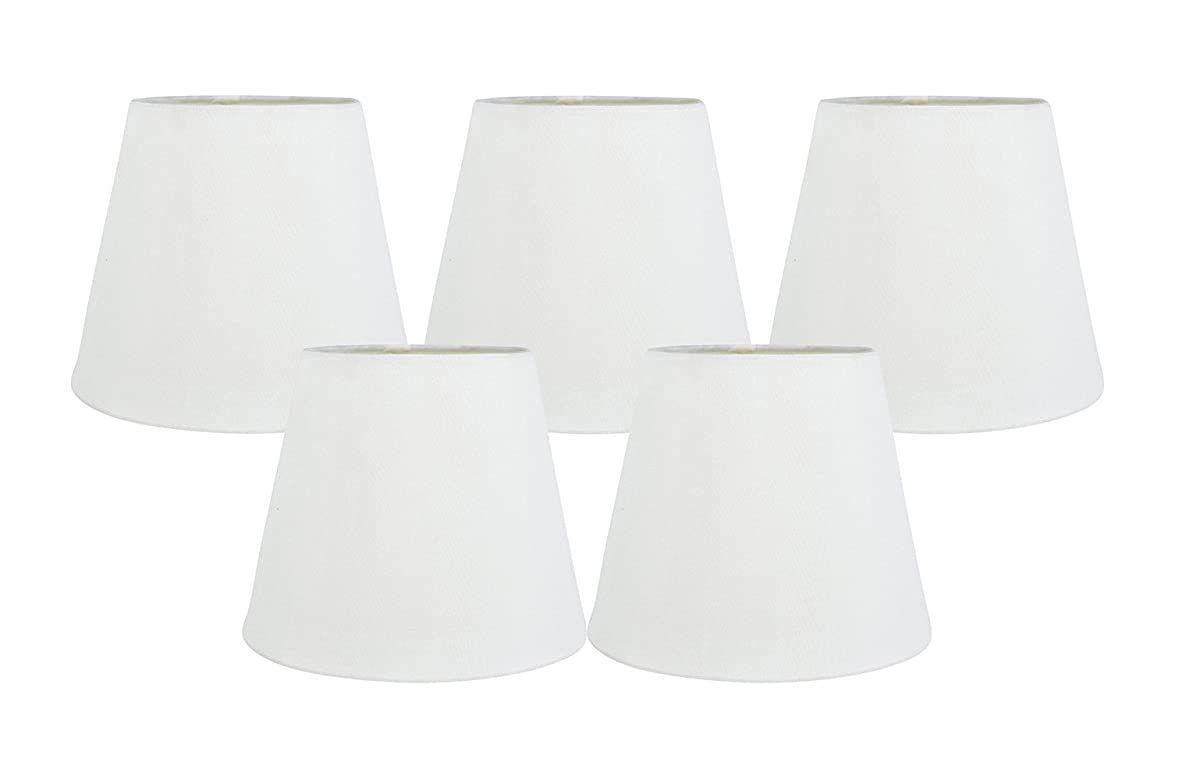 Meriville Set of 5 Off White Faux Silk Clip On Chandelier Lamp Shades, 4-inch by 6-inch by 5-inch