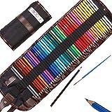Moore: Lápices de Colores artísticos Set de 48 Piezas Colores Vibrantes pre-Afilados para Adultos y niños, con sacapuntas de aleación metálico de Kum Gratis Estuche de Lona Enrollable.