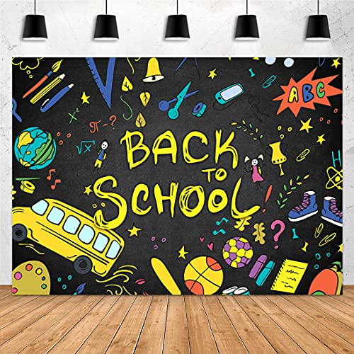 Aperturee 7x5ft Back to School Backdrop First Day of School Blackboard Tellurion Pencils Bus Football Students Photography Background Portrait Party Decorations Photo Booth Studio Banner