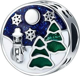 Christmas Snowflake Dangle Christmas hat Animal Deer Beads Charm Authentic 925 Sterling Silver Red Enamel Christmas Gift Bag for Pandora Charms Bracelet (Christmas Tree Charm)