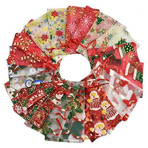 heekpek Borse in Organza Sacchetti Regalo Grande Organza 100PCS 10X15CM (4 '' x 6 '') Sacchetti di Gioielli Coulisse e Sacchetti di Caramelle per bomboniere Sacchetti di colore natalizioAlce di Natale