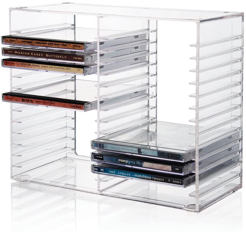 Stackable Clear Plastic CD Holder - Holds 30 Standard CD Jewel Cases
