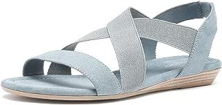 TIHOO Women's Elastic Flat Sandals Criss-Cross Open Toe Wide Strap Casual Summer Shoes