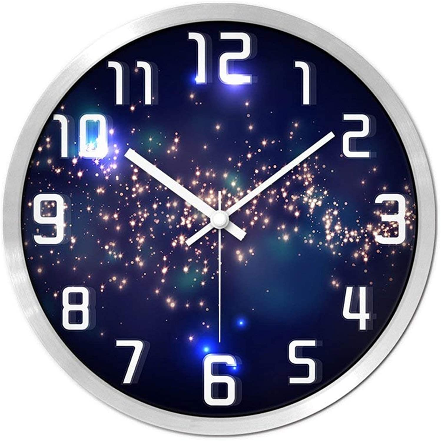 Wall Clocks Watches and Clocks Wall Clock Living Room Creative Modern Circular Clock Quartz Watches Pocket Watch Bedroom Mute Personality Simple Fashion Wall Clock (color   Silver, Size   14inch)