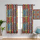 Cartoon Apartments Decor - Cortina de ventana (2 paneles), color negro