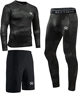 meeteu Men's Compression Underwear Set, Quick Dry Sports T Shirt, Gym Leggings for Running Cycling, Base Layers Tights wit...
