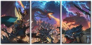 PENGDA Home Decor Canvas Painting 3 Piece Total War: Warhammer II Game Print Dragon Fire Posters Modular Picture Wall Art for Bedroom Frame