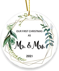 Our First Christmas Married Ornament 2021 As Mr and Mrs Bridal Shower Wedding Gifts for Couple Bride and Groom Personalized Mini Unique Funny 1st Xmas Ornaments