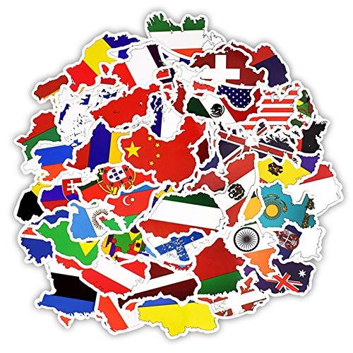 NF Orange 50 Piezas Nacionales Banderas Pegatinas Países Mapa Pegatina De Viaje A DIY Scrapbooking Maleta Portátil Coche Motocicleta