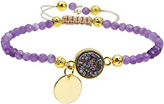 TUMBEELLUWA Beads Bracelets Faceted Stone 4mm Healing Crystal Bracelet Round Druzy Adjustable Handmade Jewelry for Women