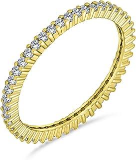 Bling Jewelry Pave CZ Cubic Zirconia Eternità Impilabi Anniversario di Nozze Anello di Banda per Donne 14K Placcato Oro Ar...