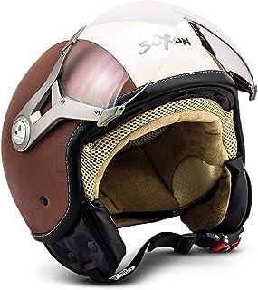 "SOXON SP-325 ""Vintage""  Jet-Helm  Motorrad-Helm Roller-Helm Scooter-Helm Moped Mofa-Helm Chopper Retro Vespa Vintage Pilot Biker Helmet  ECE 22.05 Visier Schnellverschluss Tasche XS 53-54cm"