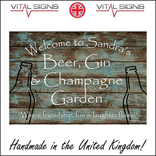 Vital Signs Direct CM191 Welcome To Sandra's Beer Gin & Champagne Garden Sign Party Girls Night 200mm x 150mm Clear Sticker/Sav - See Through