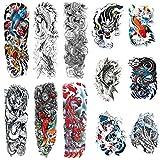 Leoars Full Sleeve Temporary Tattoos Dragon Fish Theme, Fake Fish Dragon Half Arm Tattoos Stickers and Extra Large Full Arm Tattoo Sleeves for Men Women,12-Sheet