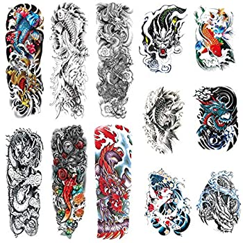 Full Sleeve Temporary Tattoos Dragon Fish Theme Fake Fish Dragon Half Arm Tattoos Stickers and Extra Large Full Arm Tattoo Sleeves for Men Women,12-Sheet