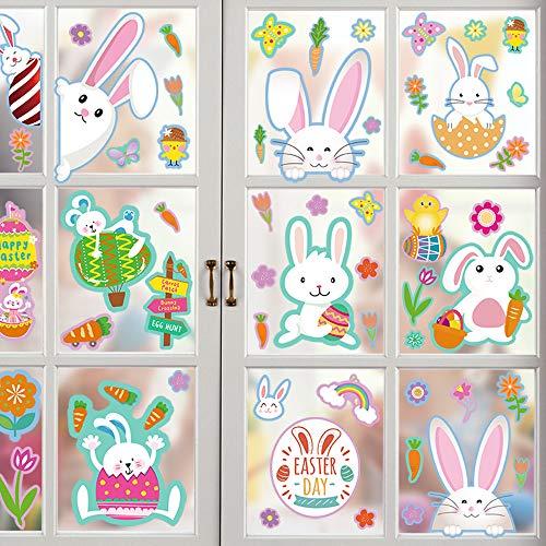 Fenstersticker Ostern, Fensterbilder Ostern, Fensterdekoration Häscheneier Frühlings Ostern, Osterfenster Klammert Sich an Aufkleber Hase