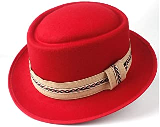 2019 Mens Womens Hats Unisex Men Women Flat Top Hat Feather Soft Pork Pie Hat Trilby Hat Panama Jazz Hat Flat Boater Porkpie Hat Outdoor Casual Hat Outdoor Wild (Color : Red, Size : 58)