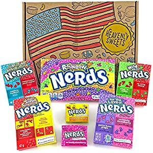 Heavenly Sweets Dulces Nerds Cesta Caramelos - Selection Americana, Rainbow Nerds, Nerds Mini Boxes, Laffy Taffy - Regalo Cumpleaños, Navidad, Día de San Valentín, Pascua - Pack de 25x18x2,5cm