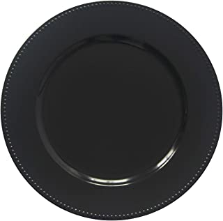 Black Plastic Beaded Charger Plates - 12 pcs 13 Inch Round Wedding Party Decroation Charger Plates (Black, 12)