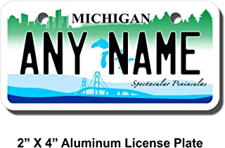 TEAMLOGO Personalized Michigan License Plate - Sizes for Kid's Bikes, Cars, Trucks, Cart, Key Rings Version 2