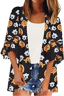 HAPPIShare Halloween Women's Cardigan Chiffon Long Sleeve Pumpkin Castle Ghost Printed Stylish Loose Baggy Kimono Coat