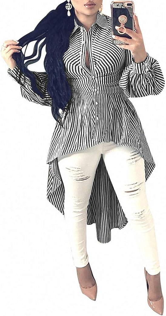 Ophestin Women Stripe Print Long Sleeve Bodycon High Low Asymmetrical Button Down Shirt Blouse Top