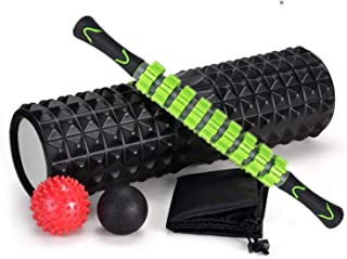 SKY-TOUCH 5 In 1 Fitness Foam Roller Set with Muscle Roller Stick and Massage Balls For Physical Therapy Pain Relief Myofa...
