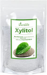 DureLife Birch XYLITOL Sugar Substitute 1 LB (16 OZ) Made From 100 % Pure Birch Xylitol In The USA , NON GMO - Gluten Free - Kosher , Packaged In A Resealable zipper lock Stand Up Pouch Bag