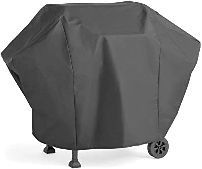 TraderPlus Heavy Duty BBQ Gas Grill Cover for Weber, Holland, Jenn Air, Brinkmann and Char Broil with Storage Bag (UV & Dust & Water Resistant, Weather Resistant, Rip Resistant) (Medium)