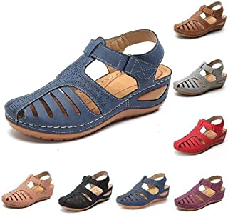 Closed Toe Sandals, Soft PU Flat Breathable Hollow Out Walking Casual Shoes, Ladies Summer Platform Wedge Sandals Vintage Ankle Strap Heeled Beach Shoes,B,35