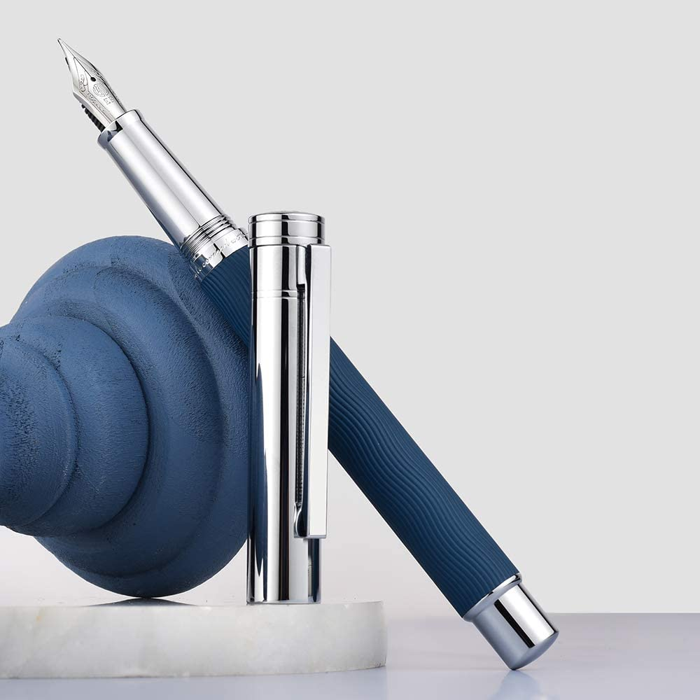 Hongdian 1843 Navigator Fountain Pen Extra Fine Nib Solid Metal Blue Ripple Pattern with Refillable Converter and Metal Pen Case