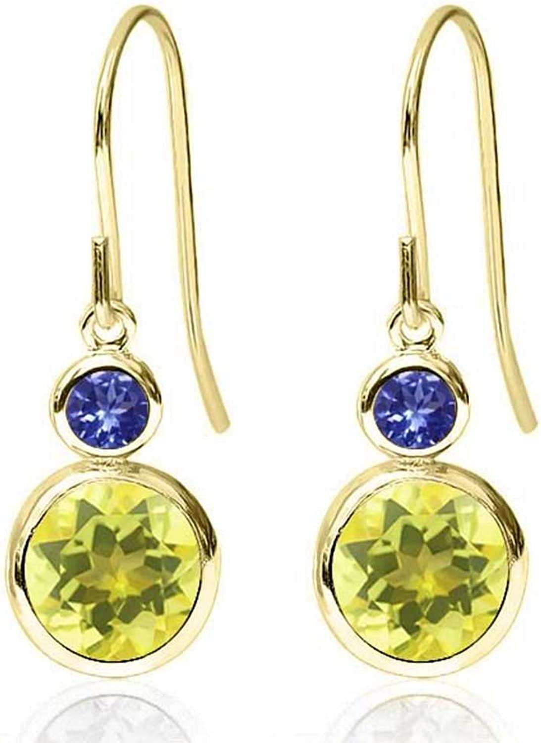 2.24 Ct Round Canary Mystic Topaz bluee Tanzanite 14K Yellow gold Earrings