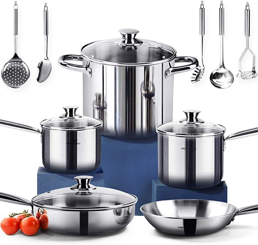 HOMI CHEF 14 Piece Nickel Free Stainless Steel Cookware Set Nickel Free Stainless Steel Pots And Pans Set Stainless Steel Non Toxic Cookware Set Stainless Steel Healthy Induction Cookware 70114