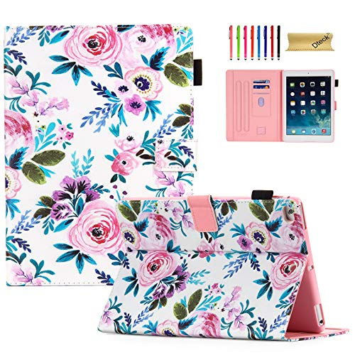 iPad Case 9.7 Inch 2017 2018/iPad Air Case/iPad Air 2 Case, Dteck Compatible with Apple iPad 6th/5th Generation Cases with Pencil Holder, Auto Sleep/Wake, Multi-Angle Stand Cover - Rose Floral